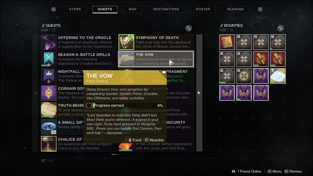 destiny 2 eriana's vow catalyst quest bug