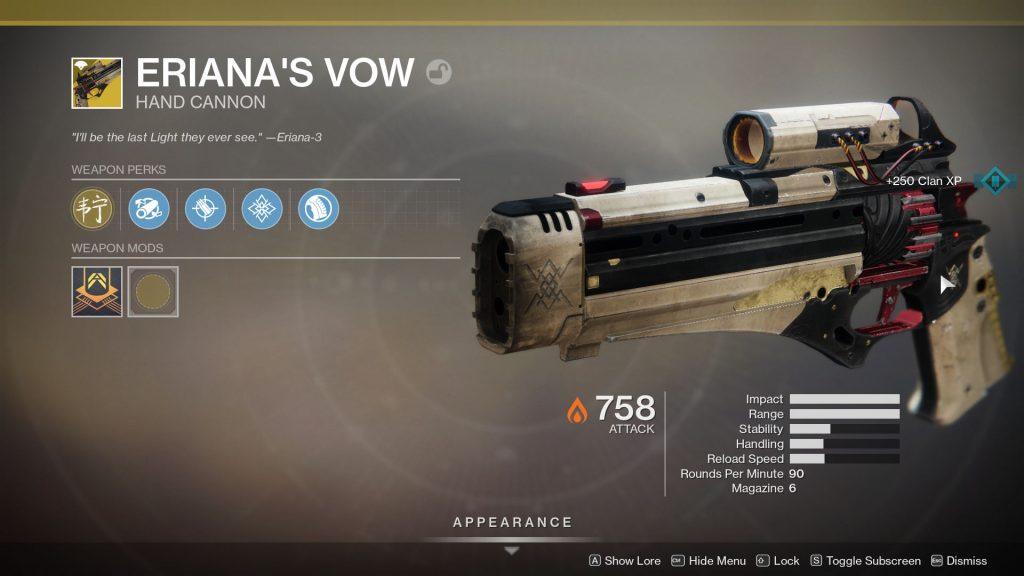 destiny 2 eriana's vow exotic hand cannon