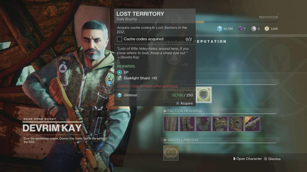 destiny 2 lost territory bounty cache codes
