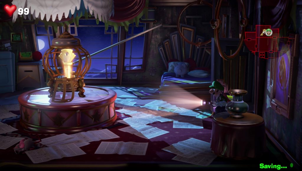 luigi's mansion get key in twisted suites 11f spinning loops room with golden bunny