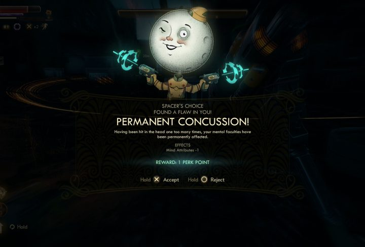 outer worlds flaws permanent concussion