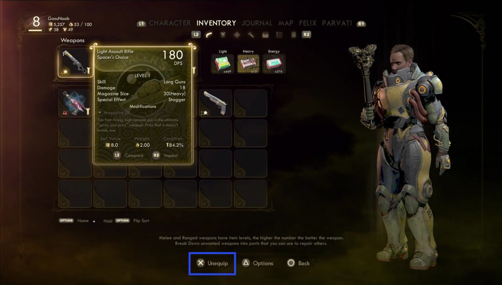 outer worlds how to unequip weapons