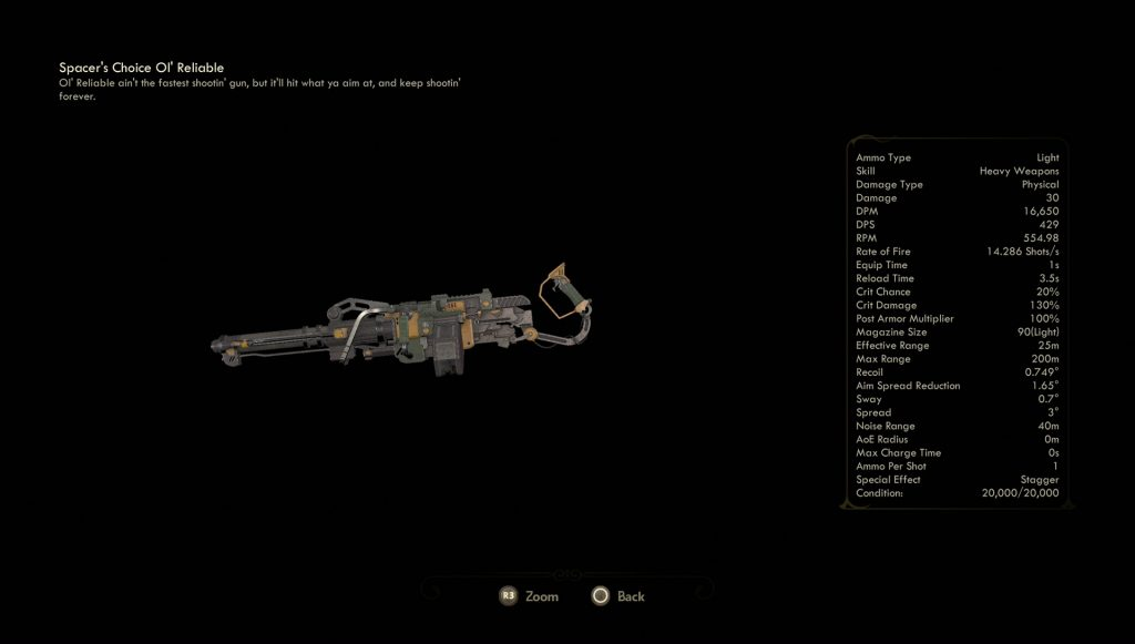 outer worlds ol reliable unique weapon
