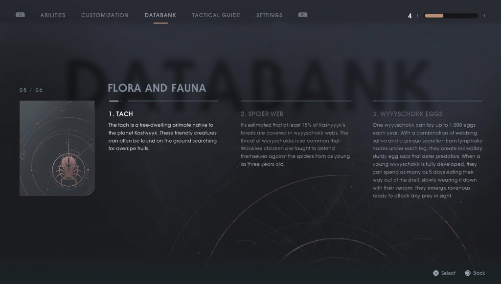 sw jedi fallen order kashyyyk flora fauna scanning databank entries