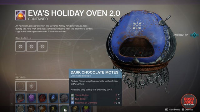 Destiny 2 Dark Chocolate Motes & Fractal Rolls Dawning Season of Dawn