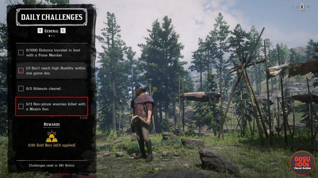 RDR2 Online Maxim Gun Location Non-Player Enemies Killed Daily Challenge