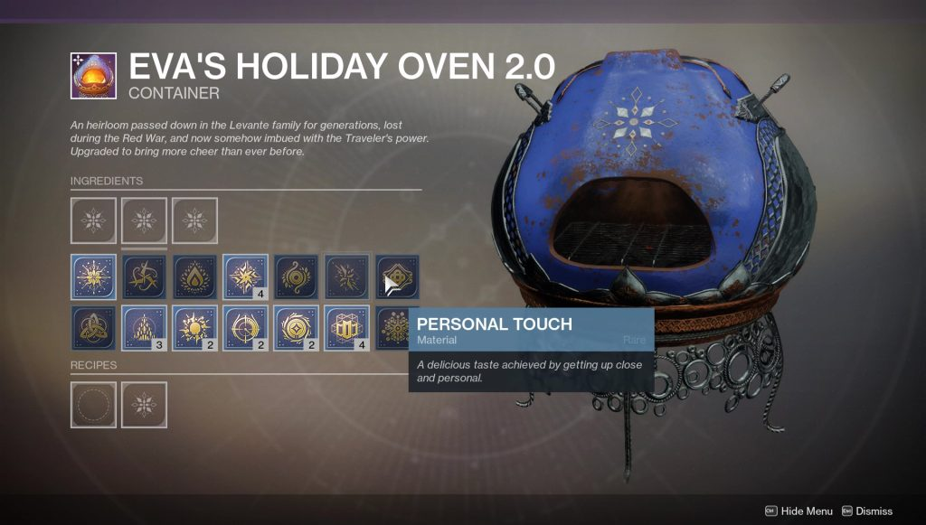 destiny 2 personal touch perfect taste bullet spray ingredients