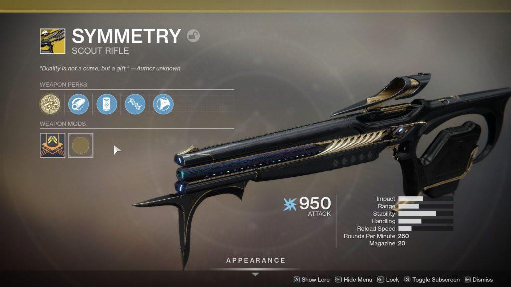 destiny 2 symmetry perks exotic scout rifle