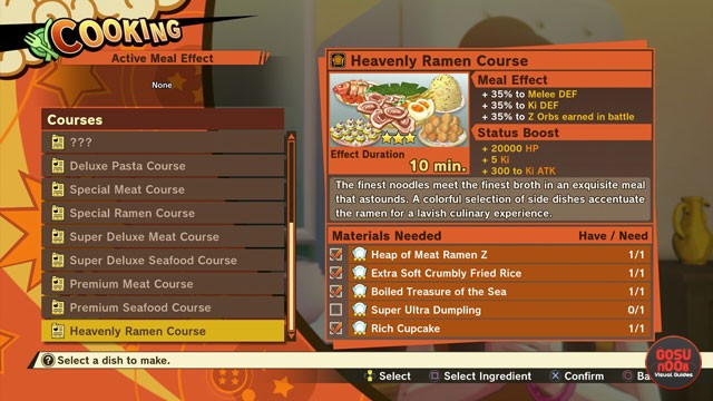 Full Course Meals in Dragon Ball Z Kakarot