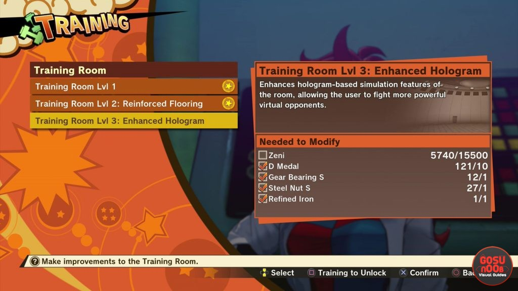 Training Room Upgrade Materials List in DBZ Kakarot Tough Enough