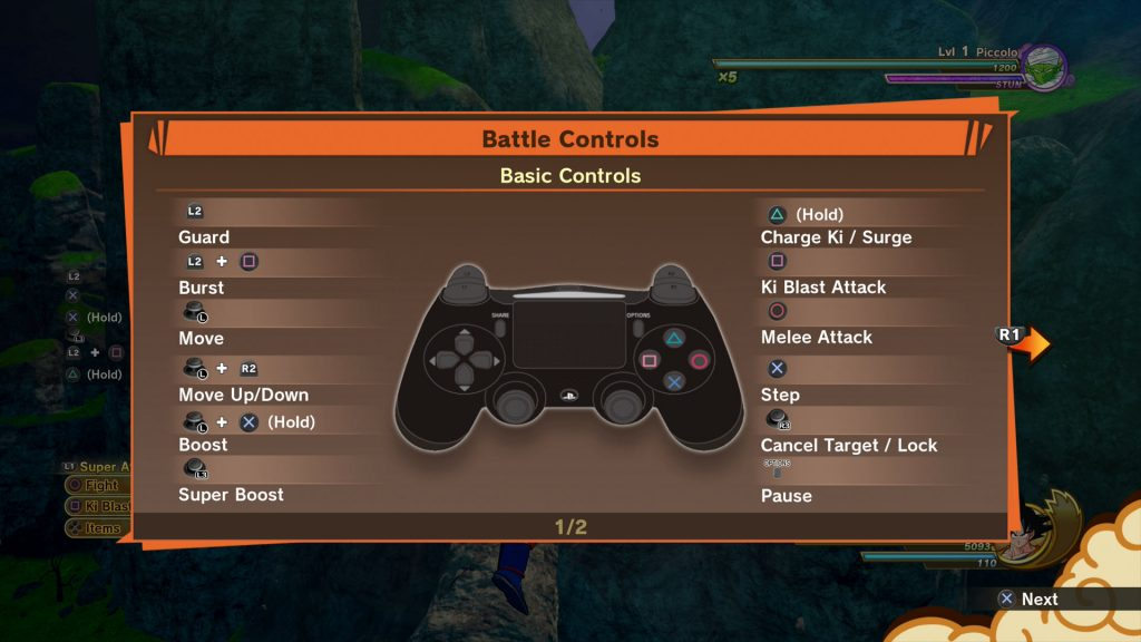 dragon ball z kakarot controls
