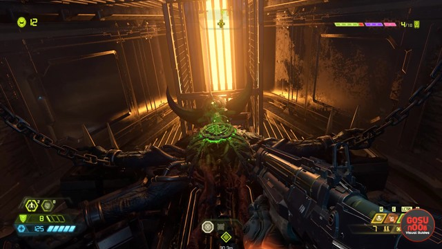 Infiltrate the Cultist Base Past Big Skeleton Demon in Doom Eternal Mission 3