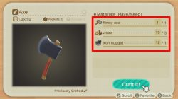 animal crossing new horizons how to craft axe chop down trees