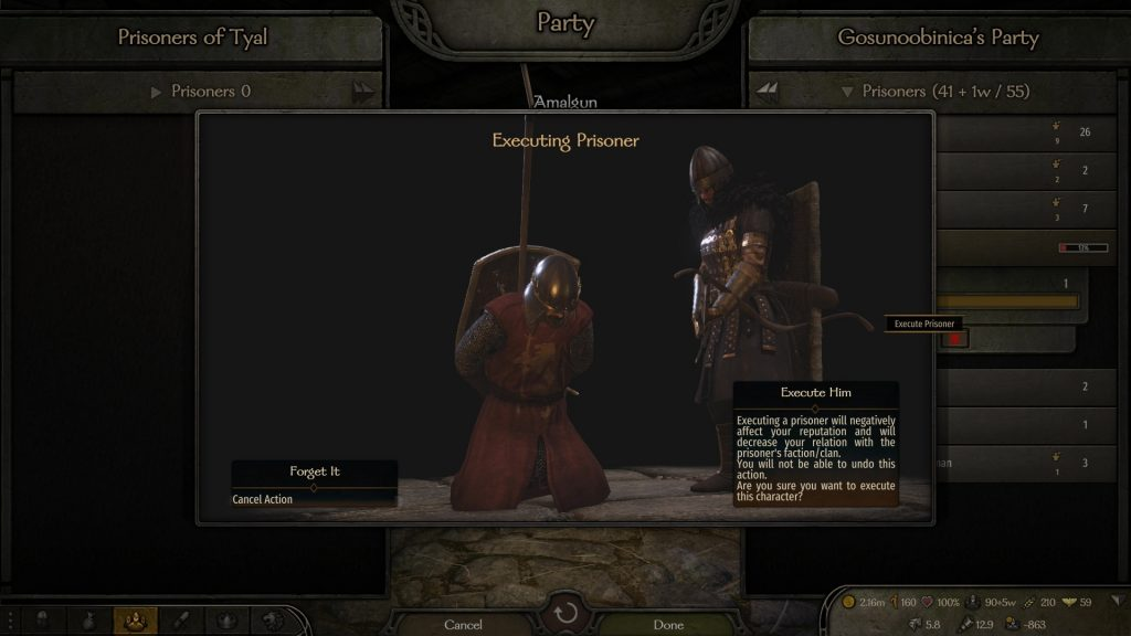 execute prisoner lords bannerlord