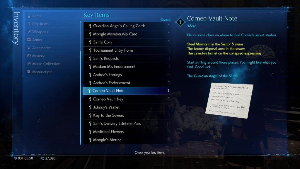 ff7 remake corneo's secret stash quest