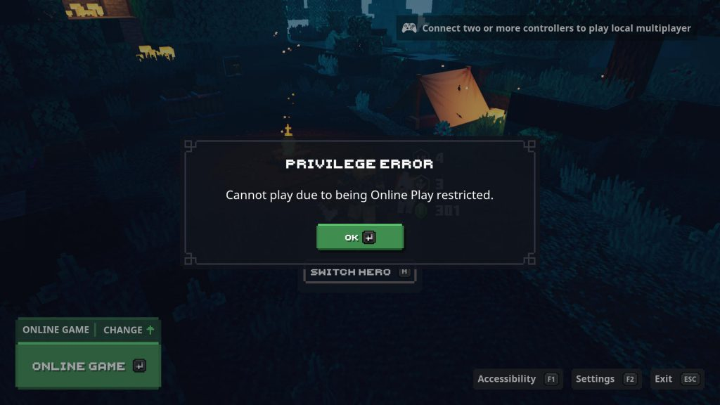 minecraft dungeons bugs privilege errors can't install find in store