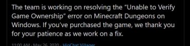 minecraft dungeons unable to verify game ownership error
