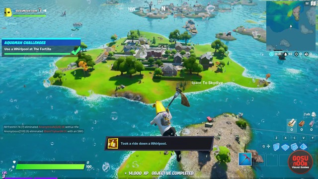 Use Whirlpool at Fortilla Location in Fortnite Week 1 Aquaman Challenge