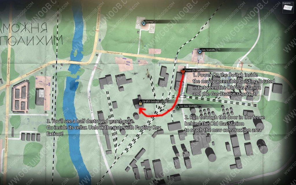 Tarkov ZB-013 Customs Extract Location Map
