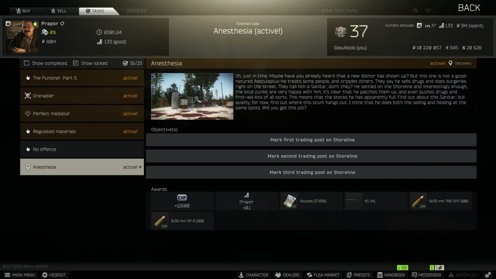 escape from tarkov anesthesia quest trading post mark locations