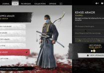 ghost of tsushima kensei armor location six blades of kojiro mythic tale