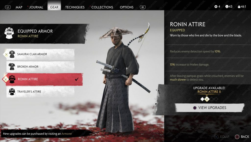 ghost of tsushima ronin attire location