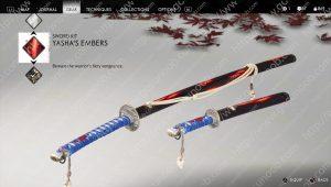 ghost of tsushima sword kits yasha's embers
