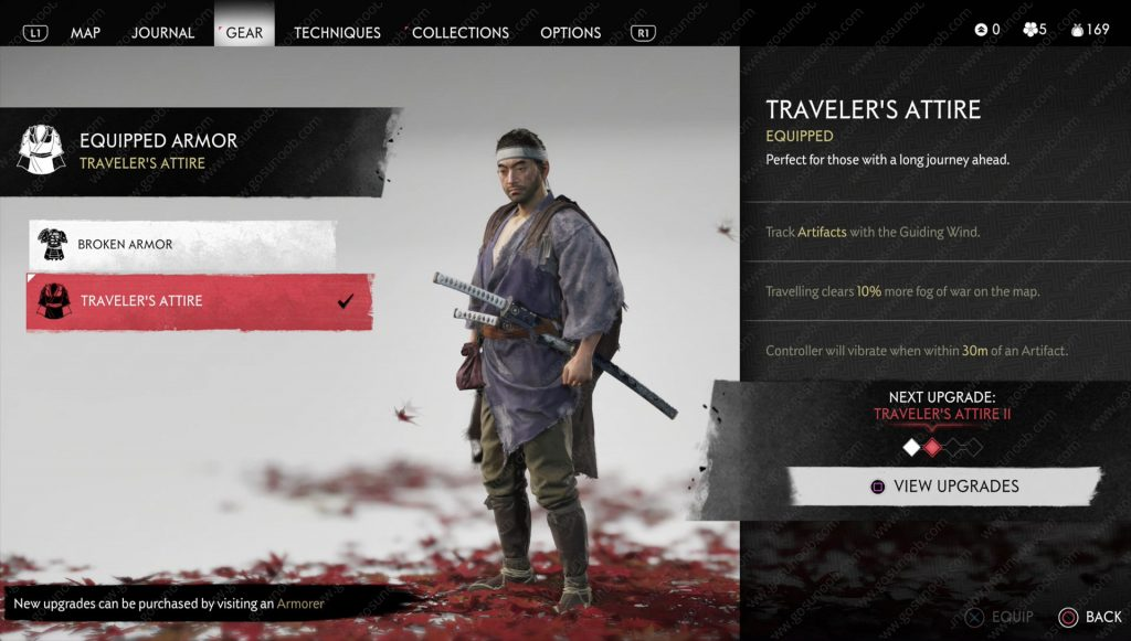 ghost of tsushima traveler's attire location