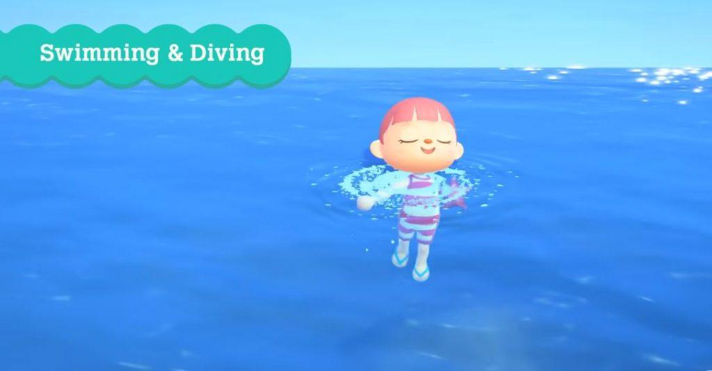 how to swim dive animal crossing new horizons