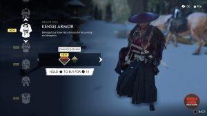 kensei armor ominous dawn red dye ghost of tsushima
