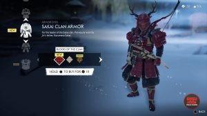 sakai clan red dye armor ghost of tsushima