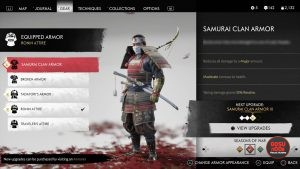 samurai clan armor ghost of tsushima red dye
