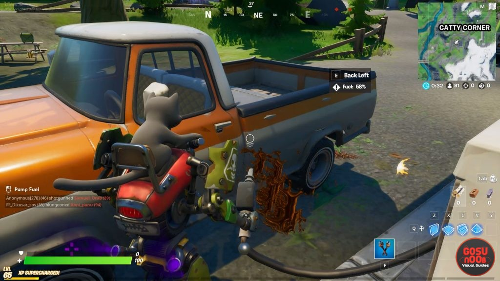 gas up a vehicle in catty corner location in fortnite