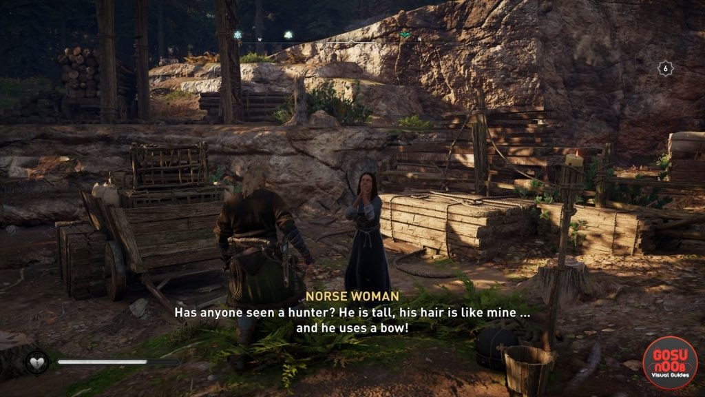 ac valhalla vinland hunter in the woods to the west location world quest