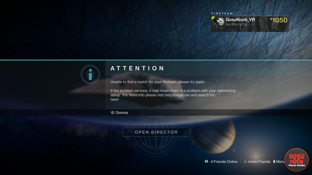 beyond light unable to find a match for your fireteam error