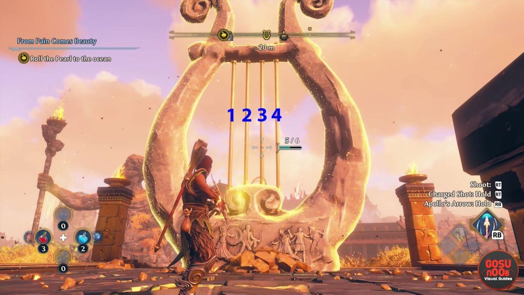 how to solve big lyre myth challenge immortals fenyx rising clashing rocks