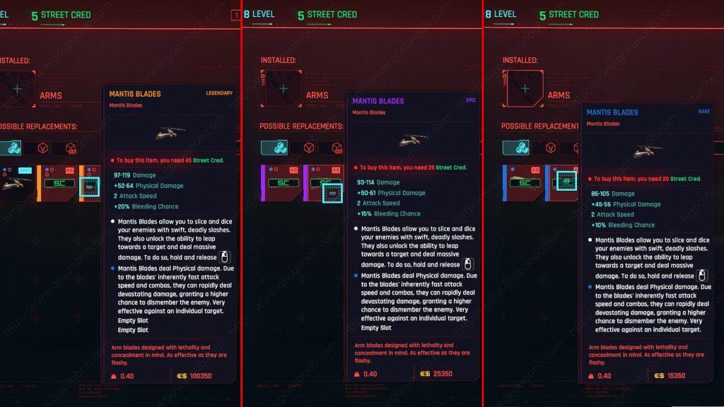 Cyberpunk 2077 Mantis Blades stats vendor