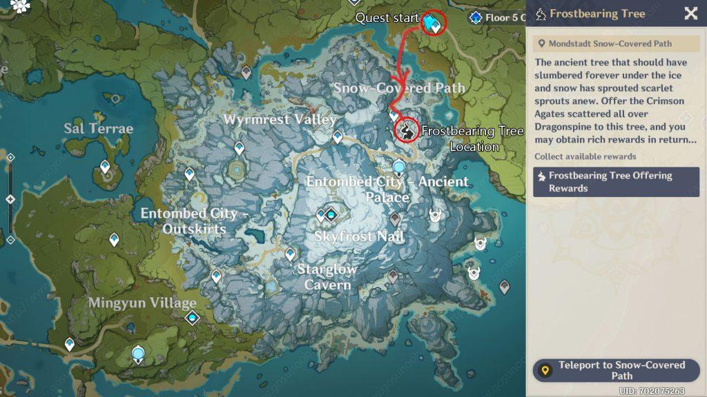 Frost Bearing Tree Location Genshin Impact map