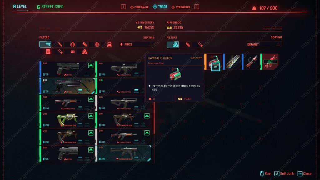 Haming-8 Rotor Legendary Cyberware Mantis Blades Mod