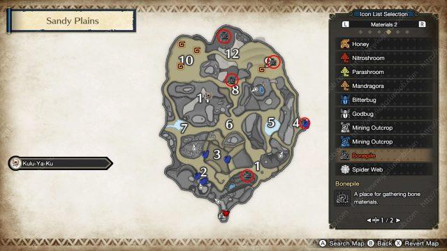 monster hunter rise eroded skeleton locations map