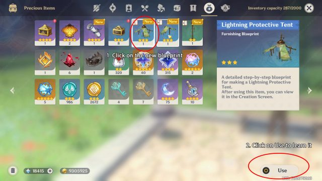 How to Learn and Craft New Furniture Blueprints Genshin Impact