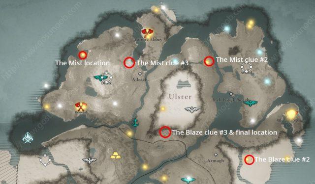 Children of Danu Order Mist Blaze clue location map