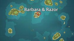 Razor & Barbara Location in Genshin Impact