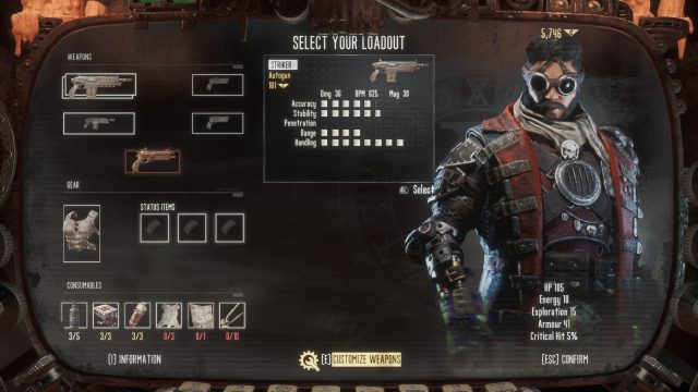 how to select your loadout to equip weapons in necromunda