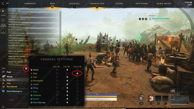 disable level up notifications in New World chat