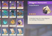 inazuma bow genshin impact hamayumi bow blueprint location