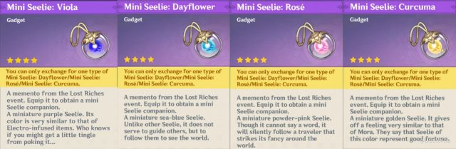 Mini Seelie - Dayflower, Rose, Viola and Curcuma Genshin Impact