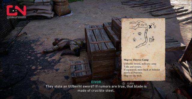 Ulfberht Sword Location - AC Valhalla Map to Thieves Camp