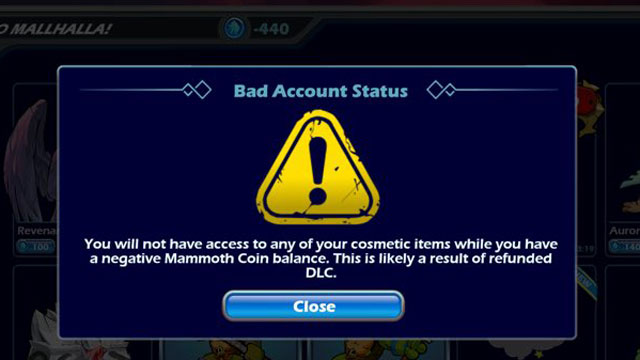 negative mammoth coin issue bad account status brawlhalla