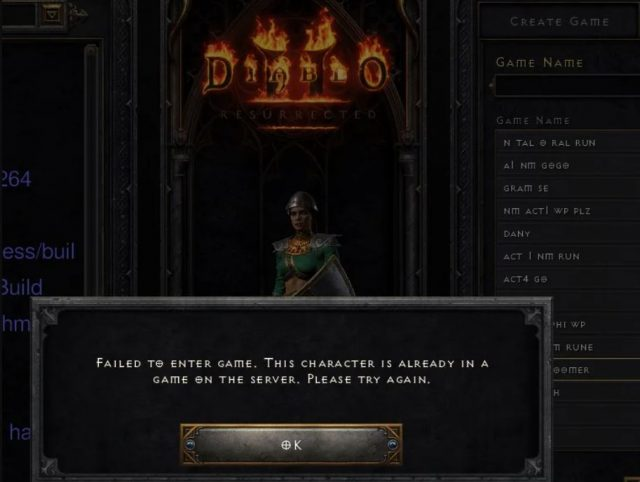 Diablo 2 Failed to Enter Game - This Character is Already in Game Bug Fix
